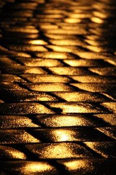 Cobblestones, Light, Asphalt, Stones