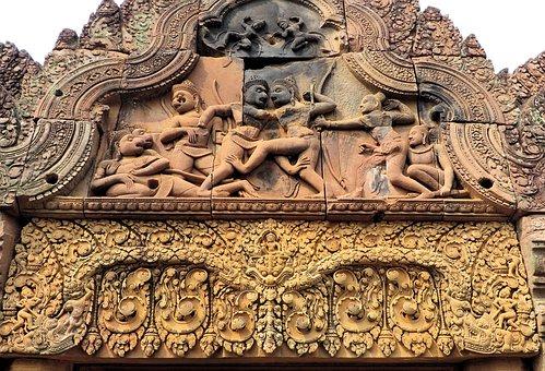 Cambodia, Angkor, Bantaey Srei, Temple, Ruins, Khmer