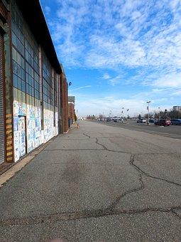 Blue Sky, Parking Lot, Parking, Fire Hydrant, Building