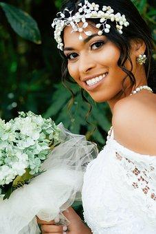 Bouquet, Bride, Dress, Wedding, Bridal, Female, White