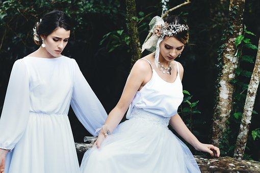 Brides, Bridesmaid, Wedding, Bride, Dress, Love