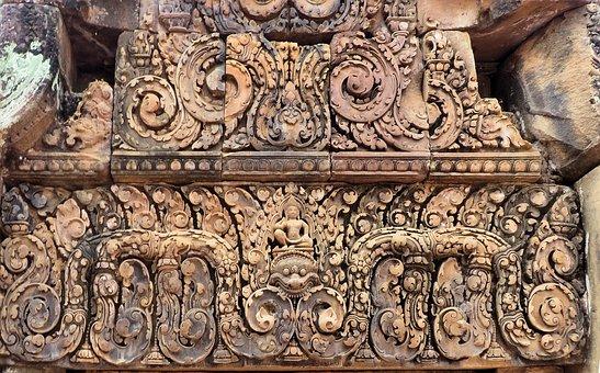 Cambodia, Angkor, Banteay Srei, Temple, Sculpture