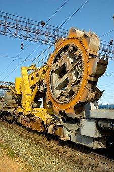 Spinning, Snowplow, Diesel, Engineering, Yellow