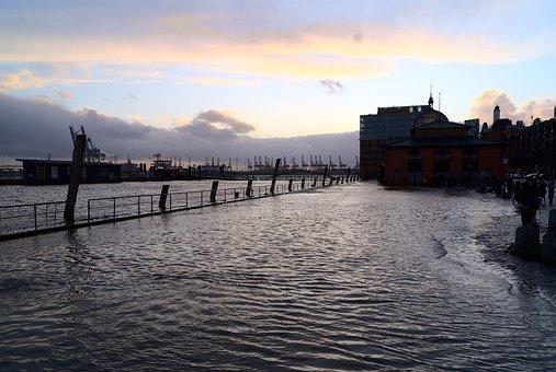 Hamburg, Fischmarkt, Sturmflut, überschwemmung, Flood