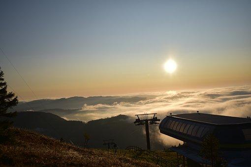 Sunrise, Fog, Clouds, Ski Lift