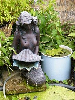 Mermaid, Garden, Pond, Garden Pond, Water, Nature