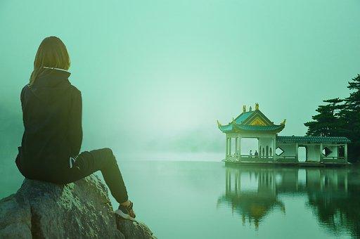 Sad, Sky, Temple, Alone, Landscape, Girl