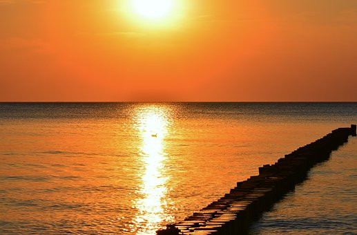 Nature, Sunset, Baltic Sea, Groynes, Sky, Evening, Dusk