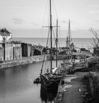 Harbour, Charlestown, Cornwall, Dock, Ship, Sailing