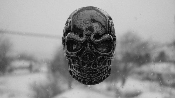 Skull, Skeleton, Death, Head, Steel, Winter