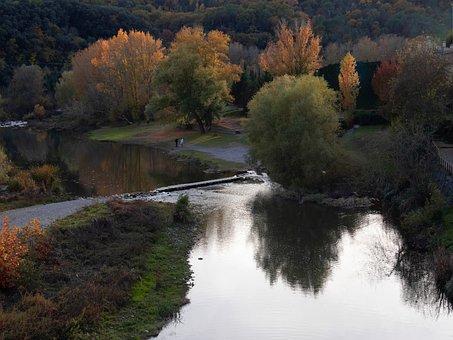 Besalú, Onyar River, Trees, Channel, Landscape, Forest