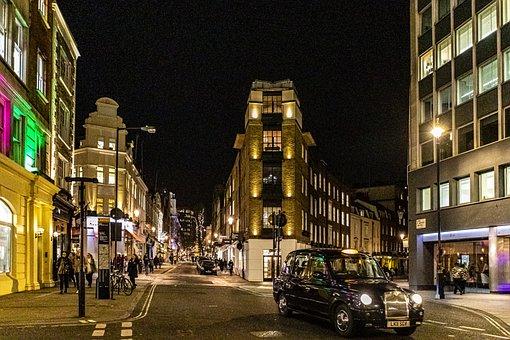 Illuminated, Lights, Building, City, Urban, Uk, England