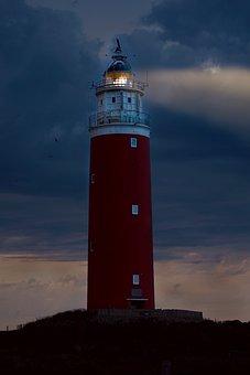Lighthouse, Evening, Abendstimmung, Light, Sky, Clouds