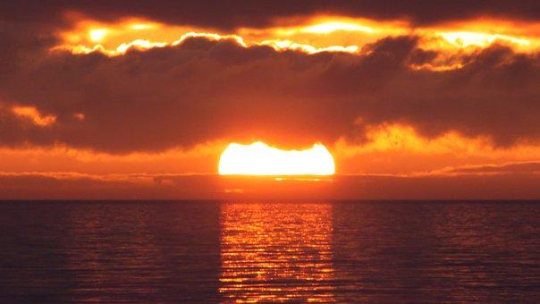 Sun, Baltic Sea, Sky, Water, Sea, Clouds, Coast