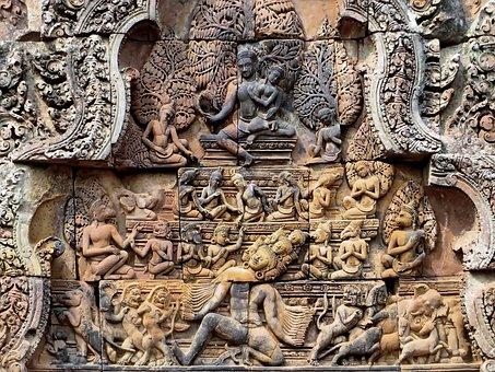 Cambodia, Angkor, Bantaey Srei, Temple, Sculptures