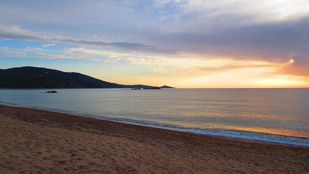 Beach, Mountain, Blue Sky, Warm Colors, Contrast