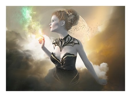 Fantasy, Gothic, Woman, Girl, Beauty, Magic, Clouds