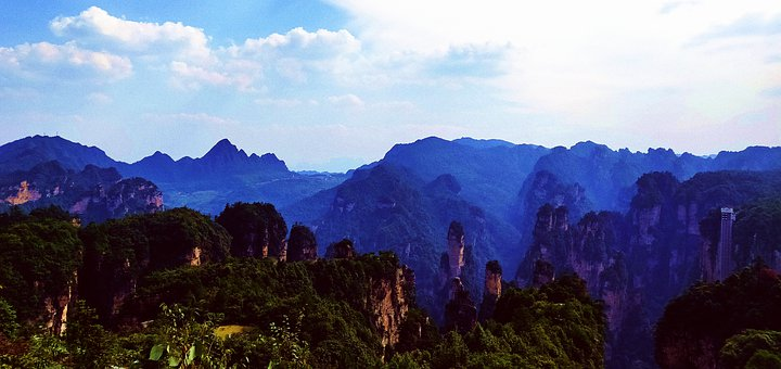 Mountains, Scenery, Nature, Green, Trees, Blue Sky