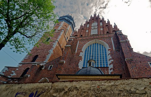 Cathedral, Church, Facade, Brick, Red, Cross, Fence