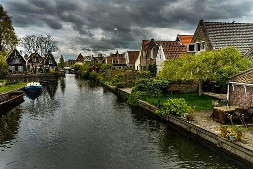 Canals, Gouda, Holland, Clouds, Moody, Dutch