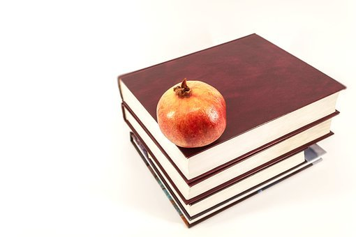 School, Pomegranate, Education, Book, Stack, Isolated