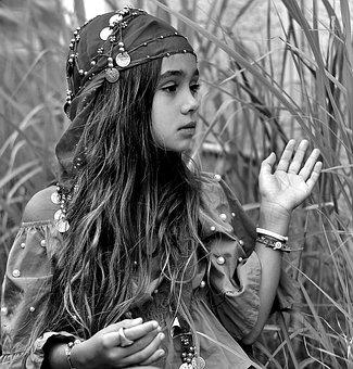 Gypsy, Bohemian, Scarf, Girl, Portrait, Beauty