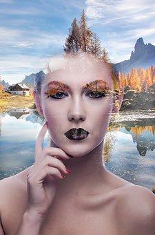 Girl, Landscape, Human, Tree, Fantasy
