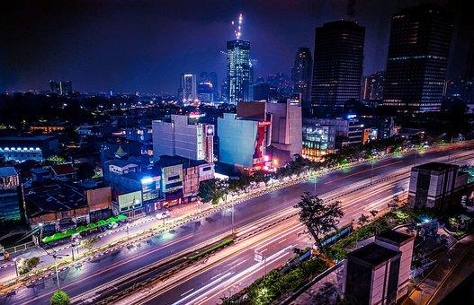 Jakarta, Indonesia, Night, Cityscape