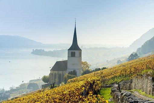 Church, Lake, Lake Biel, Autumn, Fog, Mood, Twann