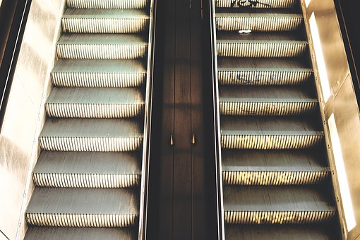 Escalator, Escalators, Berlin, Urban, Metal, Light