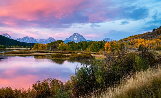 Oxbow Bend, Snake River, Wyoming, Clouds, Mountains