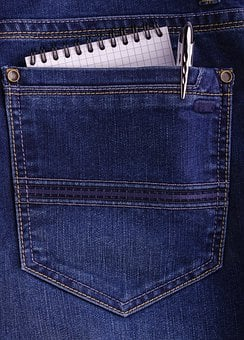 Pocket, Jeans, Pencil, Pad, Notebook, Note, Close-up