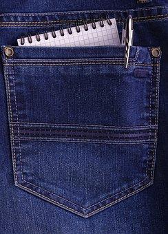 Pocket, Jeans, Pencil, Pad, Notebook