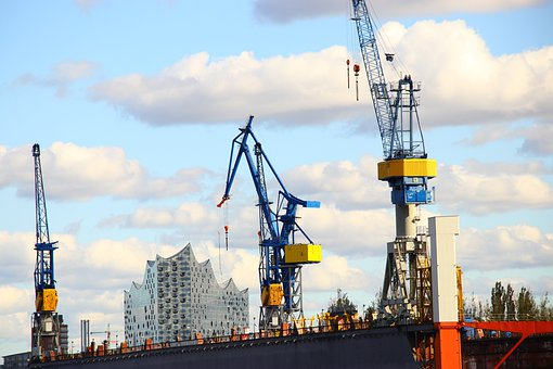 Port, Cranes, Docks, Water, Elbe