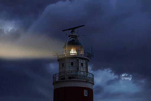 Lighthouse, Evening, Light, Sky, Clouds