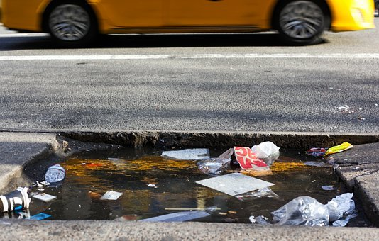 Taxi, New York, Garbage, Street Trash