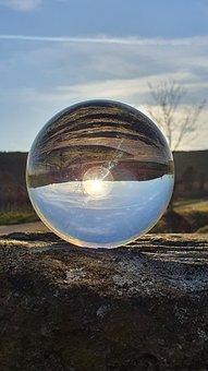 Glass Ball, Evening Sun, Sun, Landscape