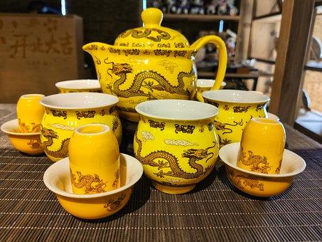 Teeservice, China, Chinese, Teapot, Teacup