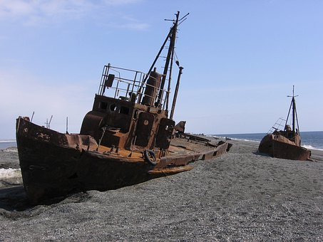Ship, Beach, Sea, Coast, Landscape, Sand, The Abandoned