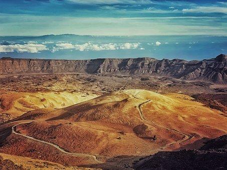 Volcano, Mountain, Landscape, Desert, Sky, Nature