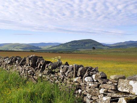 Landscape, Fields, Wall, Rocks, Summer, Sky, Clouds