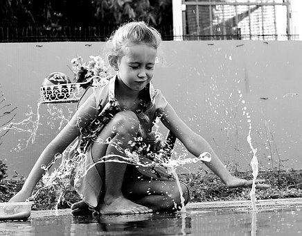 Play, Girl, Children, Happy, Fun, Nature, Water, Puddle