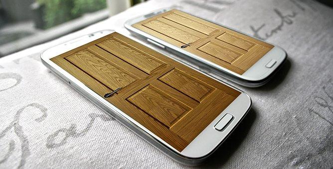 Phone, Door, Smartphone, Two, Equipment, Android, Open