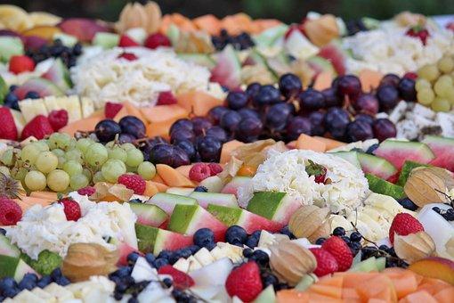 Vegetables, Plate, Arranged, Fruit, Melon, Blueberries