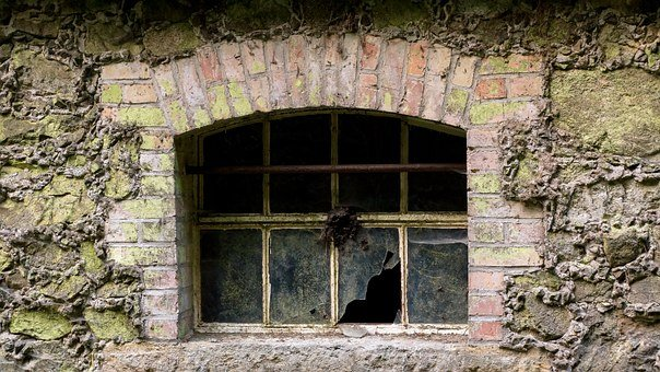 Window, Broken, Shattered, Glass, Abandoned, Lost Place