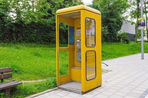 Phone Booth, Dispensary, Phone, Emergency, Call, Yellow