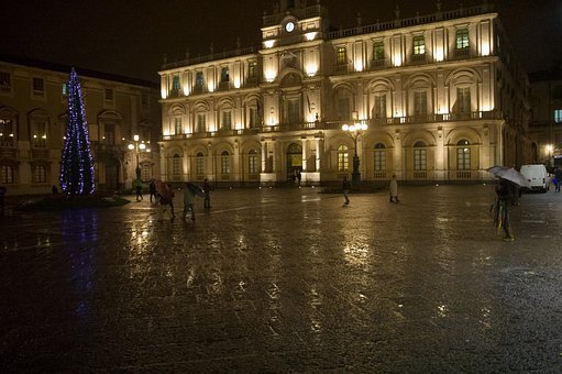 Italy, Sicily, Catania, Christmas, Rain, Night