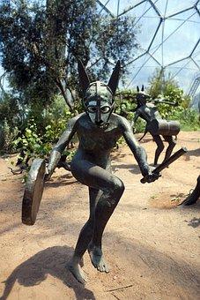 Bronze Statue, Dancer, Naked Dancer, Woman, Arid Biome