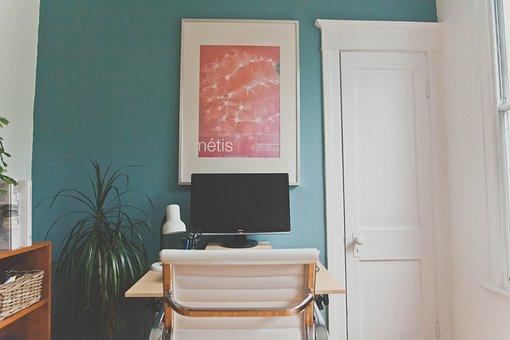 Bedroom, Office, Desk, Monitor, Computer, Technology