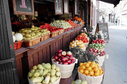 Market, Street, Fruit, Apples, Oranges, Pears, Food